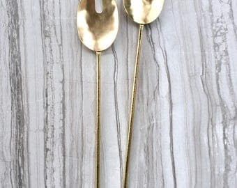 Serving Spoons || Brass Spoon and Fork Set