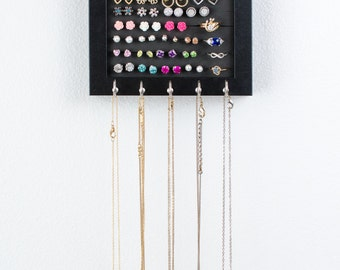 Hanging Jewelry Frame - 5x7 Black Frame- Necklace Hooks