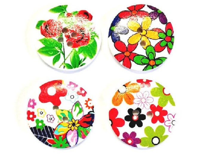 4 x 30mm Multicoloured 4 flower wooden buttons PACK 8