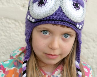 Crochet Minion Hat, Purple Minion Hat, Bad Minion Hat, Kids hat, Character Hat, Halloween hat