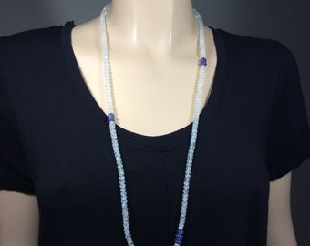 Long Rainbow Moonstone Tanzanite Necklace-Fine Sterling spacers-Waxing Moon Fine Sterling Pendant-34 inches-Gemstone Necklace-Isa Stone