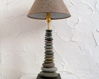 Genuine Welsh Beach Pebble Table Lamp, unique Hand Drilled Pebbles
