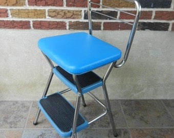 Vintage Blue Cosco Step Stool and Chair, Flip Seat, Kitchen Seat