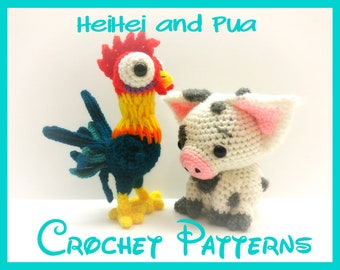 Crochet Pua and HeiHei Patterns From Disney's Moana - PATTERNS ONLY