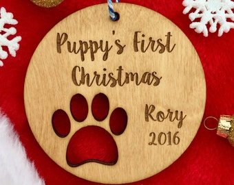 Personalized Dog Christmas Ornament - Puppy's First Christmas, Pet Gift, Pet Ornament, Dog Christmas, Custom Ornament, Paw Print, Wood Gift