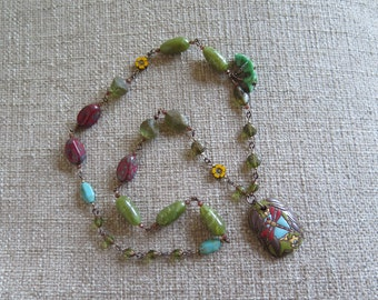 dragonfly necklace, green necklace, green and red necklace, green and yellow necklace, long necklace, dragonfly jewelry, flower necklace