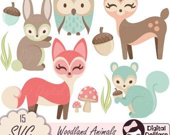 Animal SVG, Deer Cut Files, Woodland SVG Cutting Files, Owl, Fox, Squirrel, Bunny SVG Files