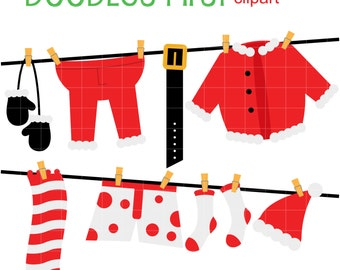 Santa's Laundry Day Digital Clip Art for Scrapbooking Card Making Cupcake Toppers Paper Crafts