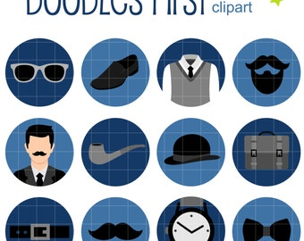 Manly Man Icons Collage Sheets for Scrapbooking Card Making Cupcake Toppers Paper Crafts Digital Collage Sheet
