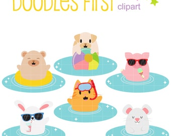 Pool Party Animals Digital Clip Art for Scrapbooking Card Making Cupcake Toppers Paper Crafts