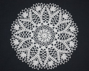 White Lace Crochet Doily, Pineapple Doily, Flower Doily, Cotton Doily, Table Topper, 12 inches