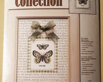 Butterfly Duo cross stitch kit, Leisure Arts 115552, Nature Collection, butterflies, mat, bow, 8x10 finished size, Aida, papillons, NIP