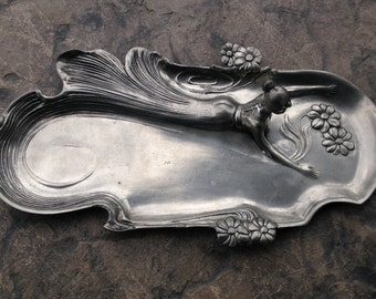 Vintage Art Nouveau Lady Maiden Pewter Tray