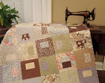 Handmade Modern Full Size Quilt, Twin Size Quilt, Handmade Quilt, Brown & Blue Quilt, Handmade Quilt, Paisley Quilt
