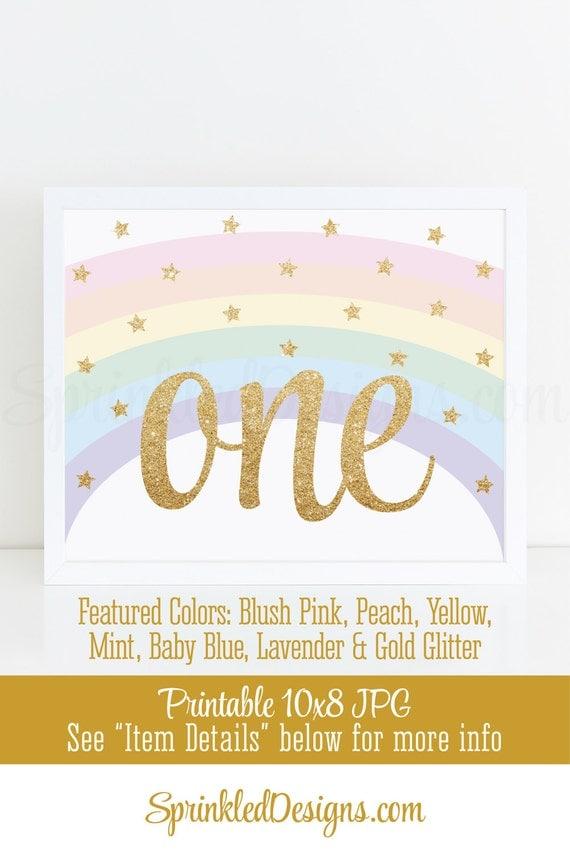 Printable Unicorn First Birthday Party Decorations, Rainbow Unicorn ...