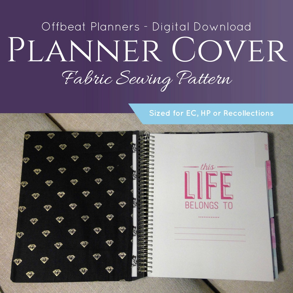 Fabric Book Cover Sewing Pattern : Fabric planner cover sewing pattern digital download