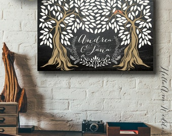Wedding guest book alternative - Wedding guest book canvas - chalkboard wedding guest book - guest book register - rustic wedding décor