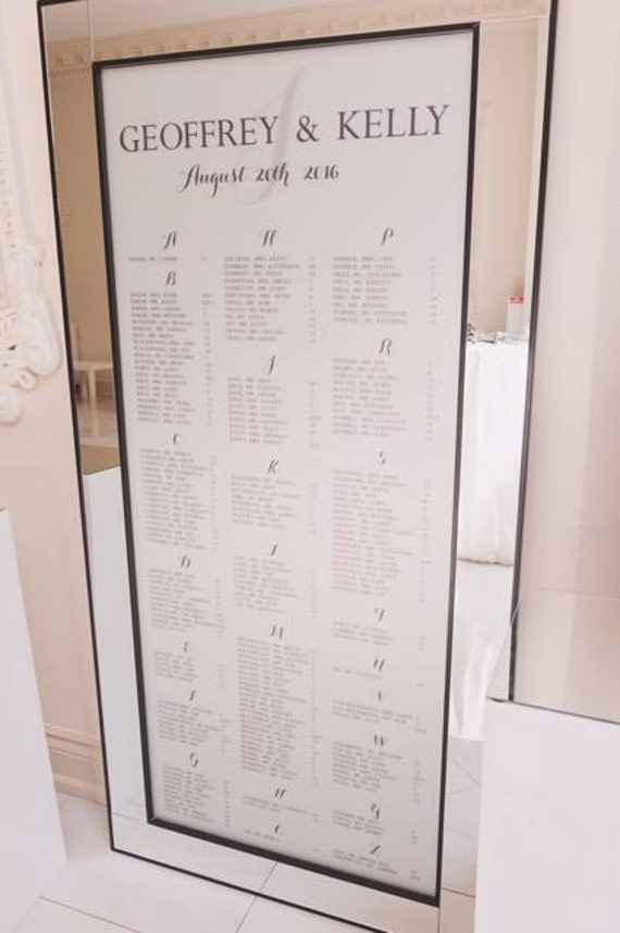 Frosted Vinyl Seating Chart Decal