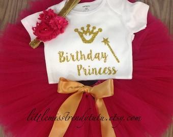 Girls BIRTHDAY PRINCESS Birthday Tutu Set, Pink Gold Birthday Set, Pink and Gold  Birthday Tutu Shirt Outfit with Headband