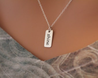 Sterling Silver Shine Word Necklace, Shine Word Charm Necklace, Shine Necklace, Go Shine Necklace, Shine Charm Necklace