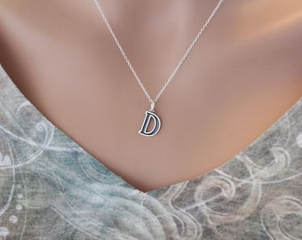 Sterling Silver Uppercase D Initial Charm Necklace, Oxidized Sterling Silver Uppercase D Letter Necklace, Uppercase D Necklace, Uppercase D