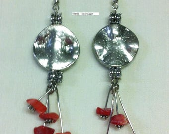 Coral & Silver Disk Dangle Earrings