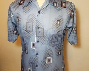 FREE  SHIPPING   1970 Abstract Geometric  Men Shirt