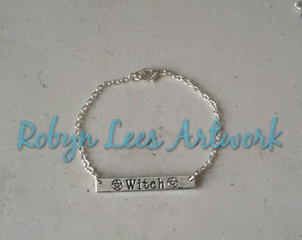 Silver Witch & Pentagram Stamped Bar Bracelet on Silver Crossed Chain. Pagan, Wiccan, Magic, Costume, Different