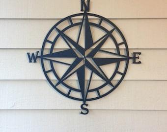 compass wall decor nautical compasswall art nautical metal wall art nautical - Outdoor Metal Wall Decor