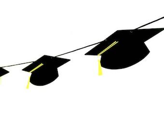 Graduation Garland, Graduation Banner, Graduation Cap Garland, Graduation Cap Banner, Graduation Party Decorations, Graduation Photo Prop