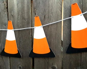 Construction Party Garland, Construction Garland, Construction Banner, Construction Cone Garland, Construction Cone Banner