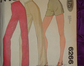 1970s 70s Pants Narrow or Straight Leg and Shorts COMPLETE McCalls Pattern 6266 Waist 30 Inches 76 Metric