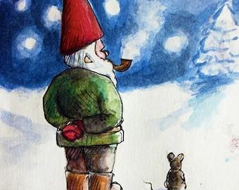 Stargazing Christmas Gnome- Handmade Blank Greeting Cards by Kate Tortland