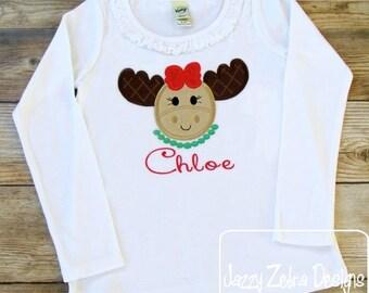 Moose girl Applique Embroidery Design - moose appliqué design - girl appliqué design