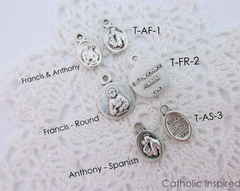 Tiny St. Francis & St. Anthony Medals - Dainty Small Catholic Saint Spanish Italian - Oxidized Silver