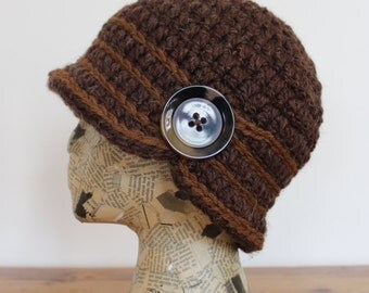 Rich Brown Crocheted Cloche with Stripes and Button