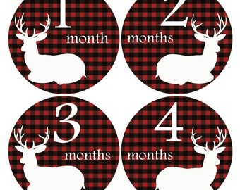 Deer monthly stickers, Baby Shower gift, Hunter month sticker, Black Red Sticker, Baby monthly sticker, growth stickers, onesie sticker A203