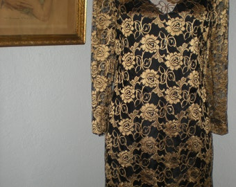 Vintage Black & Gold Floral Metallic Lace Dropped Waist Flapper Style Dress Size 10