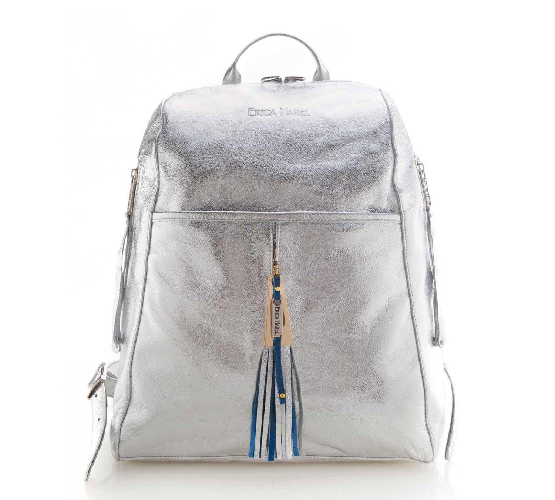 designer backpacks adul  M茅tallis茅 argent cuir sac 脿 dos, sac 脿 dos en cuir m茅tallis茅, concepteur de  sac 脿 dos, sac d'ordinateur portable, sac de voyage, argent et pompon en  cuir