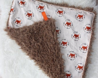 Baby Lovey, Security Blanket, Faux Fur, Fox, Minky, Fox Nursery, Tag Blanket, Woodland Nursery, Boys, Girls