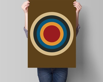 Mod Target Retro Vintage Inspired Op Art Print 60s 70s style