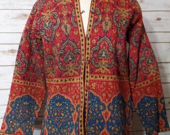 Reversible Boho India Jacket, Women's Size Medium, Fun, Cute, Bright, Bohemian