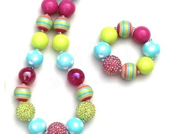 Pastel Chunky Necklace - Children's Necklace - Bubblegum Necklace - Kid's Jewelry - Kid's Necklace - Girl's Bubblegum Jewelry - Pastel Beads