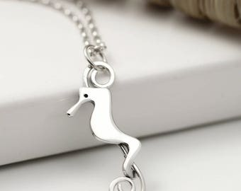 Sterling Silver Seahorse Necklace - Seahorse Jewellery - Seahorse Gifts - Silver Necklace