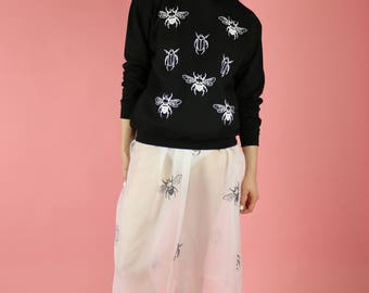 Bee and Beetle Insect Print Sweater - White on black
