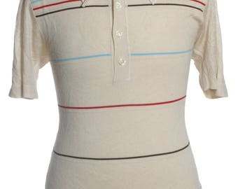 Vintage 1960's Striped Mod Polo Shirt M - www.brickvintage.com