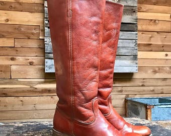 Vintage Frye Tall Campus Boots Vtg  Brown Leather Toe Knee High Western Boots Made in USA Women's Size 7 1/2