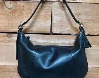 Vintage Coach Small Hobo Shoulder Bag Vtg Black Leather Handbag Made in USA 9214