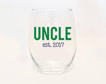 Stemless Wine - Uncle Established Est. Custom Date Glass / Fun Uncle / New / Present / Gift / Gender Reveal / Godfather / Shower