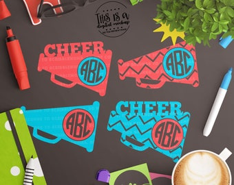 Cheer svg Files, Cheer Monogram svg, Cheer Megaphone svg, Cheerleader Cut File, Cheer svg, eps, dxf, png Cut Files for Silhouette for Cricut